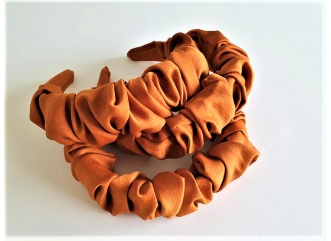 Cinnamon Satin Ruffle Hairband